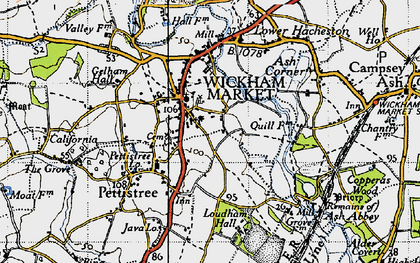 Old map of Wickham Market in 1946