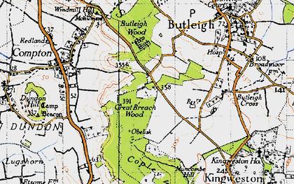 Old map of Wickham's Cross in 1945