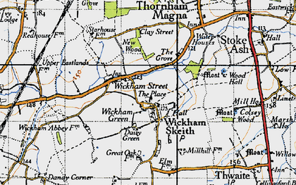 Old map of Wickham Skeith in 1946