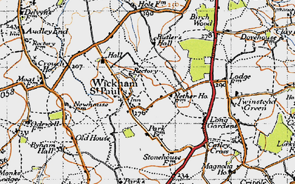 Old map of Wickham St Paul in 1946