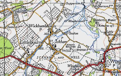 Old map of Wickhambreaux in 1947