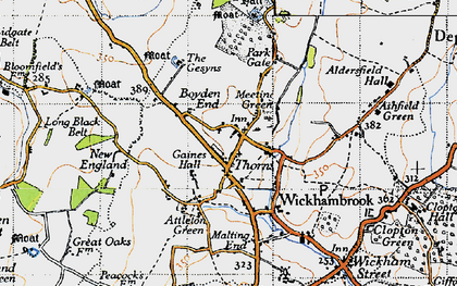 Old map of Wickhambrook in 1946