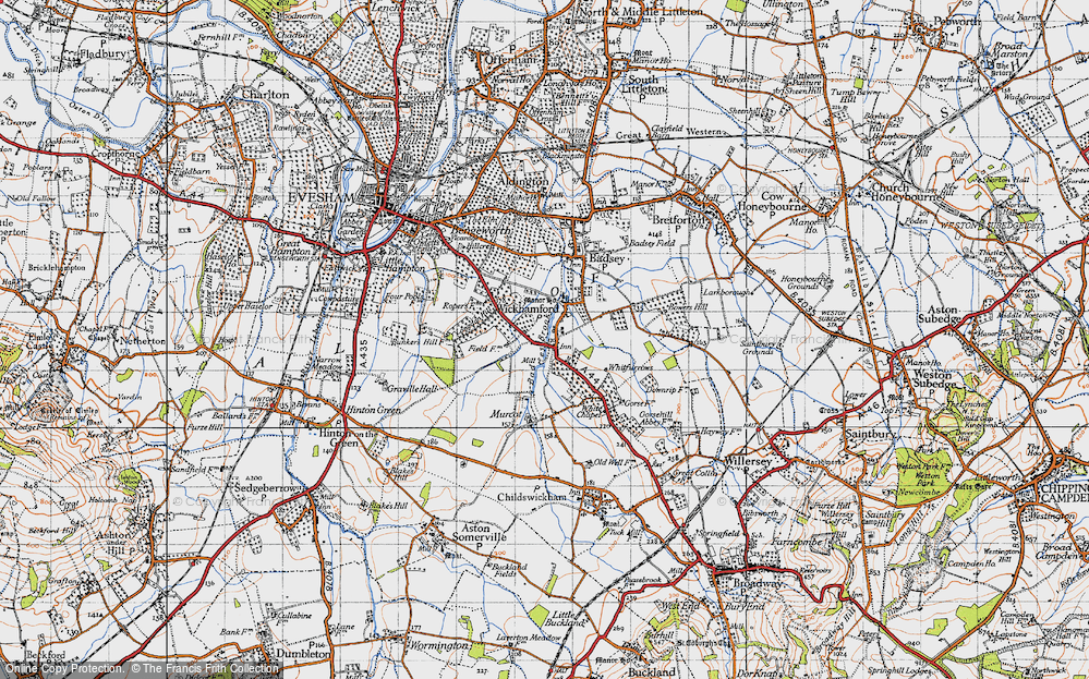 Old Map of Historic Map covering Badsey Brook in 1946
