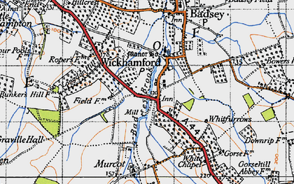 Old map of Wickhamford in 1946