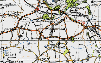 Old map of Wicklewood in 1946