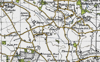 Old map of Wickmere in 1945