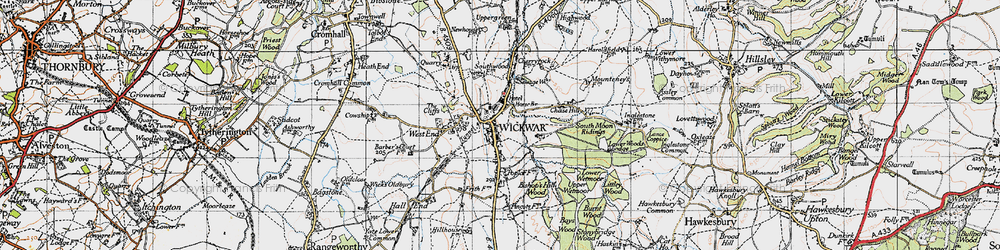 Old map of Wickwar in 1946