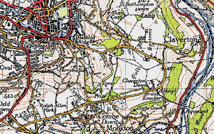 Old map of Widcombe in 1946