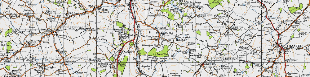 Old map of Widdington in 1946