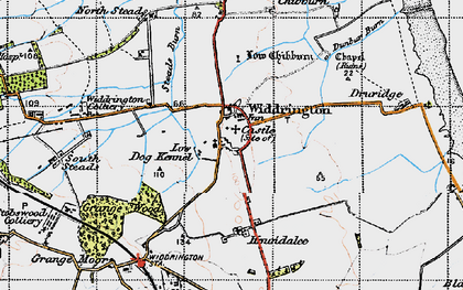 Old map of Widdrington in 1947