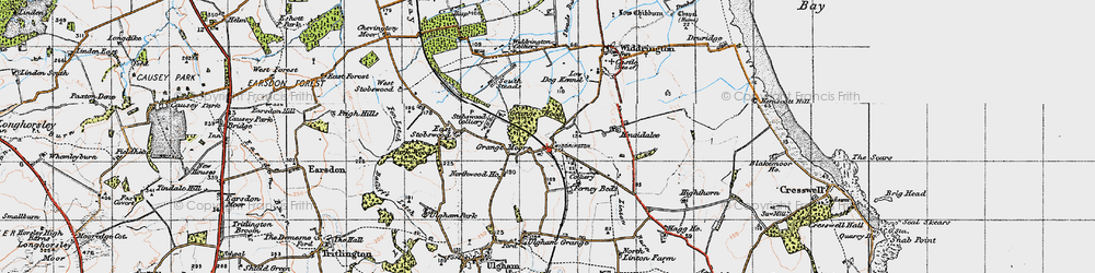 Old map of Widdrington Station in 1947