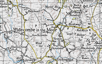 Old map of Widecombe in the Moor in 1946