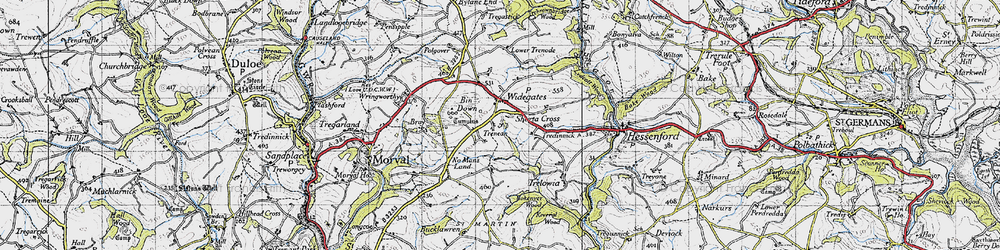 Old map of Widegates in 1946