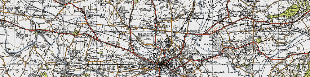 Old map of Widemarsh in 1947