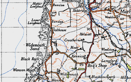 Old map of Widemouth Bay in 1946