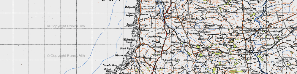 Old map of Widemouth Sand in 1946