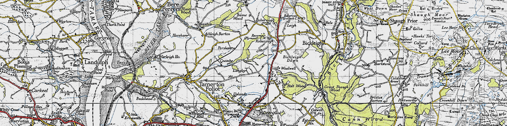 Old map of Widewell in 1946