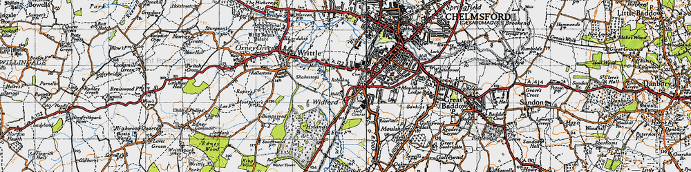 Old map of Widford in 1945