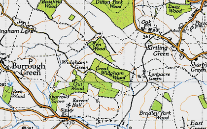 Old map of Widgham Green in 1946
