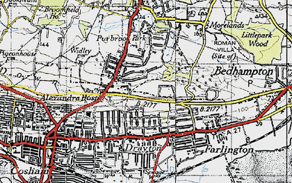 Old map of Widley in 1945