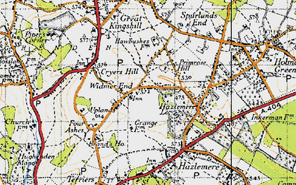 Old map of Widmer End in 1947