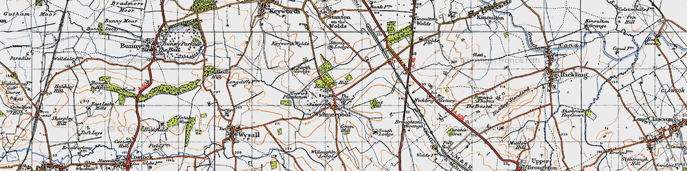 Old map of Widmerpool in 1946