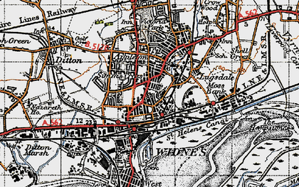 Old map of Widnes in 1947