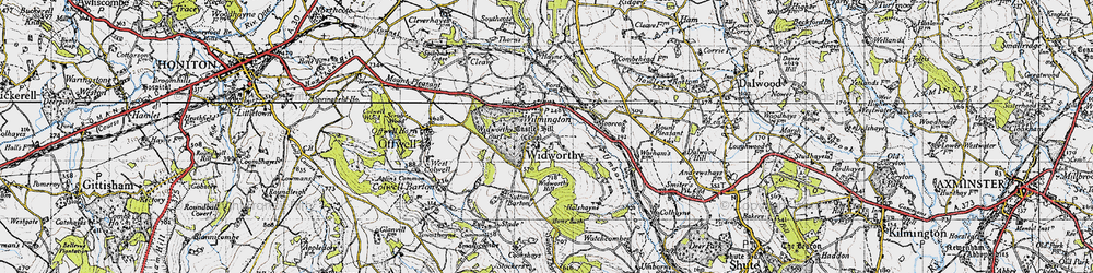 Old map of Widworthy in 1946
