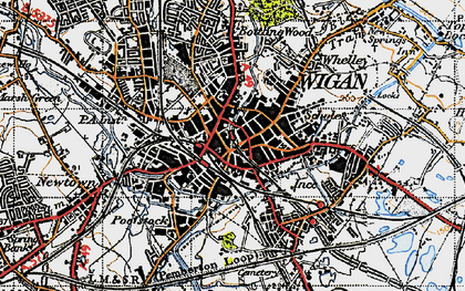 Old map of Wigan in 1947