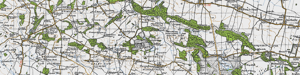 Old map of Wiganthorpe in 1947
