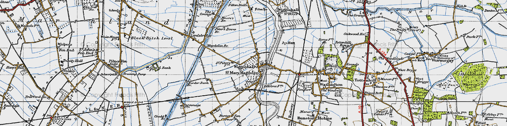Old map of Wiggenhall St Mary Magdalen in 1946