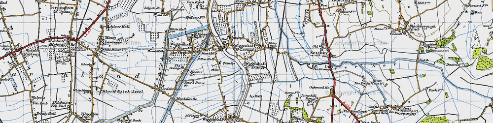 Old map of Wiggenhall St Peter in 1946