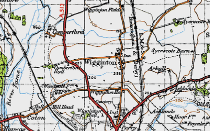 Old map of Wigginton in 1946
