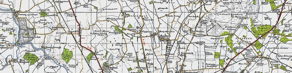 Old map of Wigginton Moor in 1947