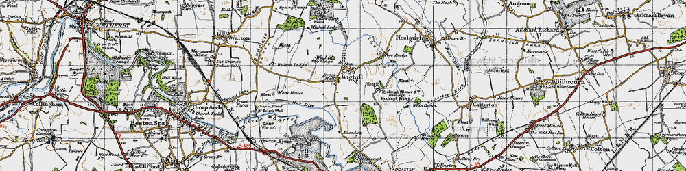 Old map of Wighill in 1947