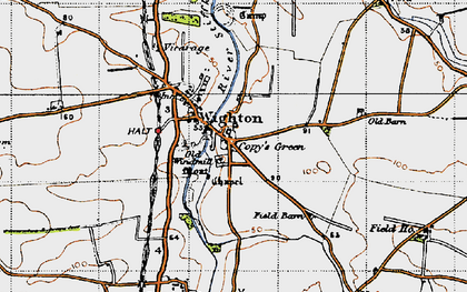 Old map of Wighton in 1946