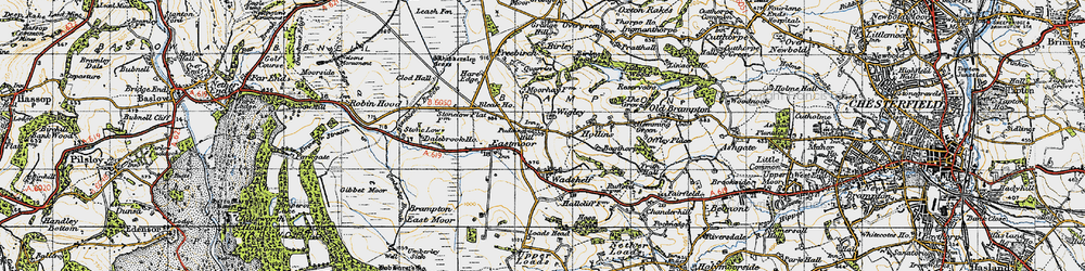 Old map of Wigley in 1947