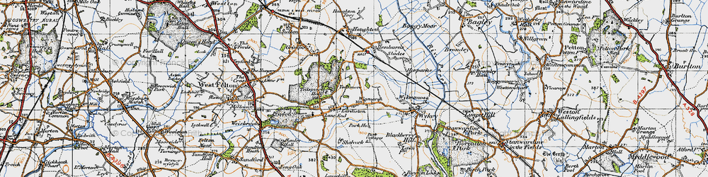Old map of Wigmarsh in 1947