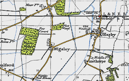 Old map of Wigsley in 1947