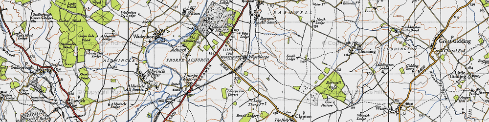 Old map of Wigsthorpe in 1946