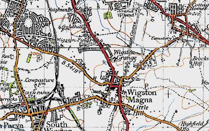 Old map of Wigston in 1946
