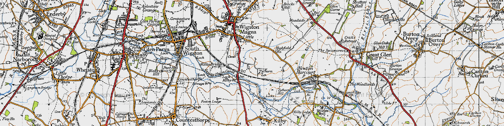 Old map of Wigston Harcourt in 1946