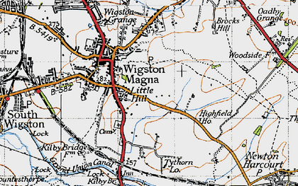 Old map of Wigston Magna in 1946