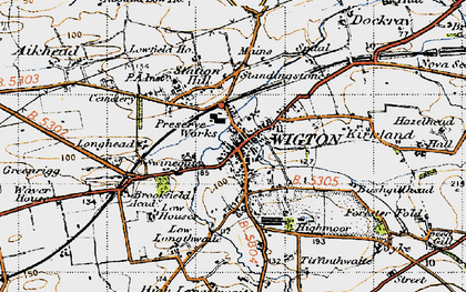 Old map of Wigton in 1947