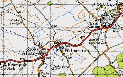 Old map of Wilbarston in 1946
