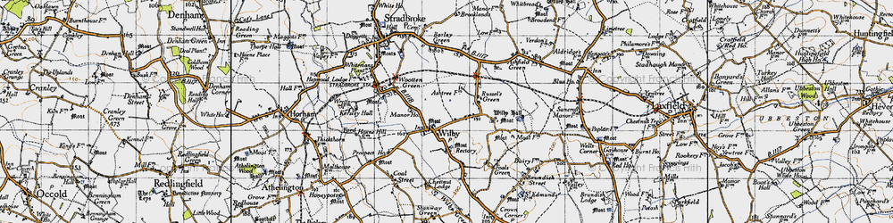 Old map of Wilby in 1946