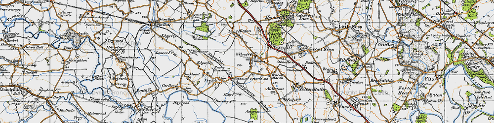 Old map of Wilcott in 1947