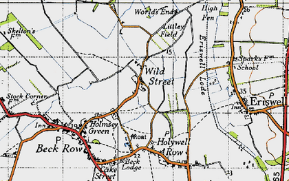 Old map of Wilde Street in 1946