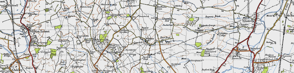 Old map of Wilden in 1946