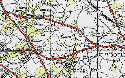 Old map of Wildern in 1945